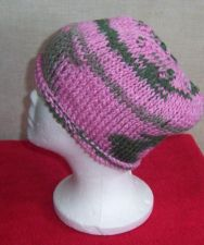 Buy Hand Crocheted Pink Ombre Tunisian Knit Stitch Roll Brim Woman's or Teens Hat