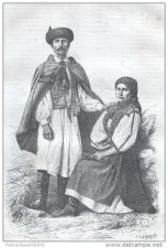 Buy ROMANIA - PEASANTS FROM THE VALLEY OF SEBES KOROS - engraving from 1874