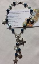 Buy starfish and shell blue pearl silver plated handmade anklet sizing available
