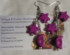 Buy star and moon purple handmade earrings