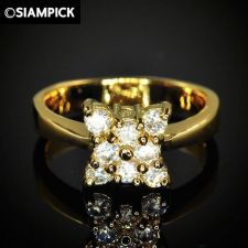 Buy 24k CZ Round Wedding Engagement Ring Thai Baht Yellow Gold GP Size 8 Jewelry 14
