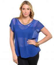 Buy Women Plus Size BLUE Short Sleeve Sheer Lace Chiffon Top Causal Night-out Top