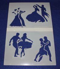 Buy 2 Piece Set -Mylar 14 Mil Dancing Stencils Painting/Crafts/Stencil/Template