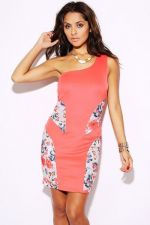 Buy TRENDY FLORAL PEACH/PINK OVER THE SHOULDER DRESS, Party Evening Dress,S,M,L
