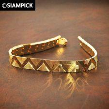 Buy 24k Thai Bath Yellow Gold GP Box Chain Bangle Bracelet Charm Mens Jewelry GF 11