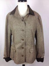 Buy Faconnable Jacket L Womens Brown Wool Long Sleeve