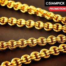 "Buy 24"" Thai Baht 22k 24k Yellow Gold Plated Rolo Mens Chain Necklace Jewelry N012"