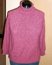 Buy Sweater Solid Pink Cotton yarn knit size Karen Scott Petite XL