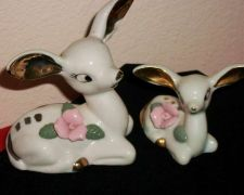 Buy Antique Porcelain White China Deer & fawn with gold leaf ears and spots