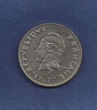 Buy France 50 Franc 1967 Coin New Caledonia -BU Beautiful Polynesia Coin! High Grade
