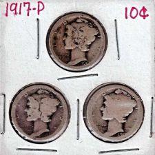Buy Lot of 3 1917 Mercury Dimes