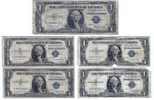 Buy 5 1935 Silver Certificates: 4 1935G & 1 1935E