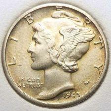 Buy 1945-D Toned BU Silver Mercury Dime