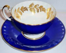 Buy Aynsley Fine Bone China Tea Cup & Saucer Cobalt Blue Gold Accent