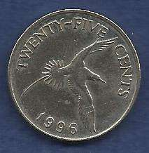 Buy Bermuda Islands 25 Cent 1996 Yellow Billed Tropical Bird Queen Elizabeth II Coin