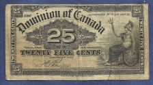 Buy CANADA 25 Cents 1900 BANKNOTE, SHINPLASTER DOMINION OF CANADA BOVILLE NOTE -NICE