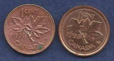 Buy Canada 1 Cent 1978 & 1998, RED Canadian Maple Leaf Elizabeth II Penny - 2 COINS!