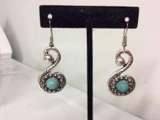Buy Trendy Fashion Swirl Turquoise Dangle Earrings