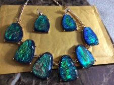Buy Beautiful Greenish Blueish Necklace and Earrings Set