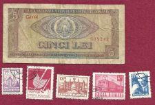 Buy Romania 5 (Cinci) Lei 1966 Banknote # 608242 & Romania STAMP LOT