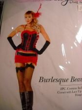 Buy Burlesque beauty Leg ave woman Costume size xsmall hot pink fringe skirt corset