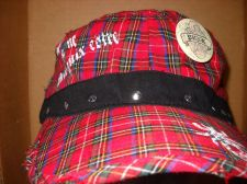 Buy Punk Plaid Distressed Painter cap red black Studded Punk button USA seller
