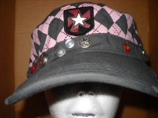 Buy Grey & Pink Painters cap skull buttons star cadet hat 100%cotton cool USA seller