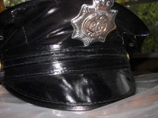 Buy Police hat Vinyl womans costume Hat Police woman shiny sexy wet look hat USA seller