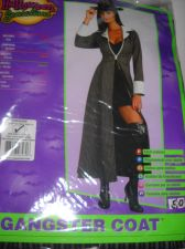 Buy Gangster Coat woman's costume Gray black Pinstripe long coat size med USA seller