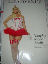 Buy Leg Avenue Naughty Nurse Corset Bustier Size Lg 36 Boned white red trim sexy