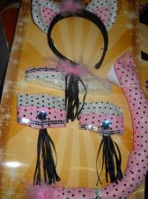 Buy Cat Tail Ears wrist cuffs collar Pink Bling sequin 4 piece cat costume womans
