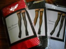 Buy Leg Ave fishnet thigh-hi 3 pair lot Red White Black womans stockings