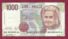 Buy Italy 1000 Lire Mille Banknote DD 905443A (1990)- Maria Montessori/Teacher