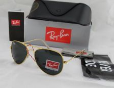 Buy Authentic Ban RB 3025 Black Lens Gold Frame Size 58 Aviator Sunglasses NEW