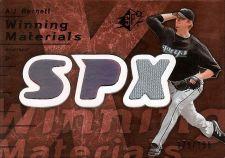 Buy A.J. Burnett 2007 SPX Winning Materials Game-Used Jersey Card #WM-AB (179/199)