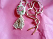 Buy Avon Medallion Hand Painted Floral Porcelain with a Off white Tassel