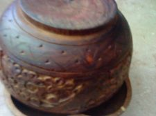 "Buy 2 VINTAGE HAND CARVED 6""x 5""x2"" Philippines 5''X4''X3'' India Wood Bowls"