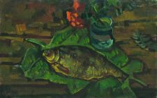"Buy Painting ""Still life with fish on leaves"""