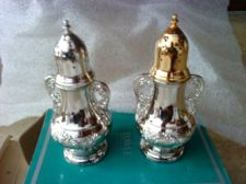 "Buy 2 NEW VINTAGE TOWLE SLIVER Plated 4"" SALT AND PEPPER SHAKERS"