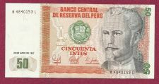 Buy 1987 Central Bank of Peru 50 Intis Banknote A4840153L - Crisp Note!