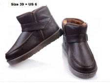 Buy Man's Warm Coffee Color Short Style with Buckle PU Waterproof Boots