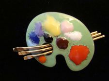 Buy Enamel Artist Palette with paint and Brushes - Vintage costume Jewelry Brooch