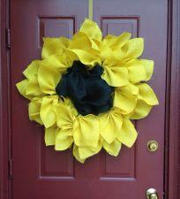 Buy Sunflower all burlap door wreath!