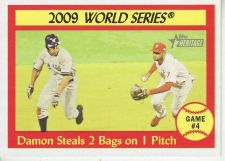 Buy 2010 Topps Heritage #309 Damon Steals 2 bags on 1 pitch