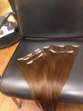 Buy Ready to Ship - Hand made Brown Clip ins - 14 inches yaki texture