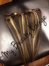 Buy 100% Handmade 10 inch human blend Hair Clip Ins 2 Pcs Set double wefted Highlight hai