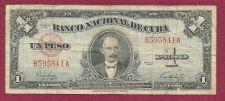 Buy Cuba 1 Peso 1949 Banknote P--69h Serial # B595841A - Republic of Cuba