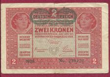 Buy Austria Hungary 2 KRONEN KORONA 1917 BANKNOTE No. 230420