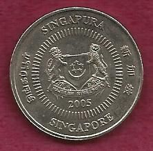 "Buy SINGAPORE 50 Cents 2005 FLOWER COIN Engraved ""Republic of Singapore"" on Rim"