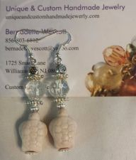 Buy turtle white and clear glass and ceramic handmade earrings